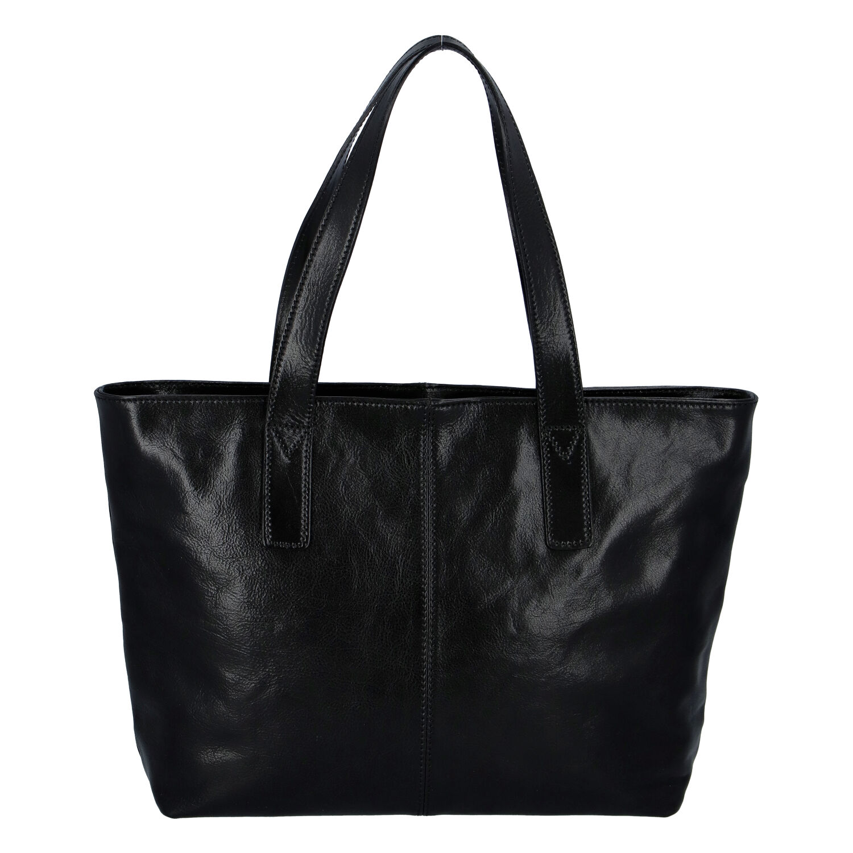 Módna dámska kožená kabelka čierna - ItalY Rich čierna