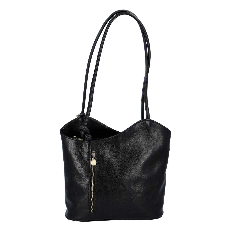 Dámska kožená kabelka batoh čierna - ItalY Lazzy čierna