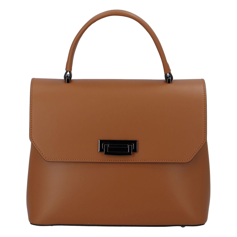 Originálne hladká svetlo hnedá dámska kabelka do ruky - ItalY Neolila hnedá