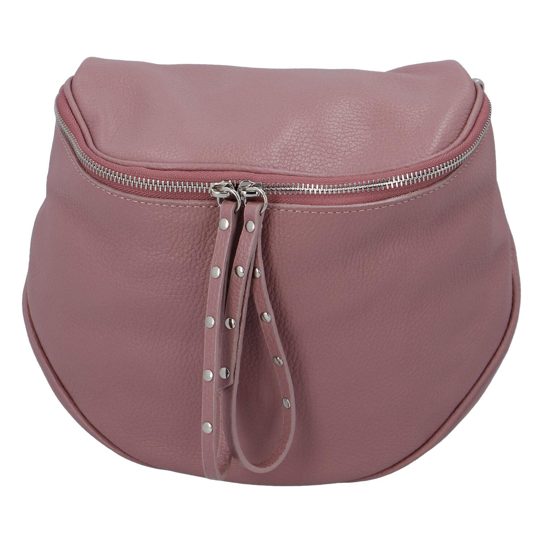 Luxusná kožená kabelka ľadvinka ružová - ItalY Banana ružová