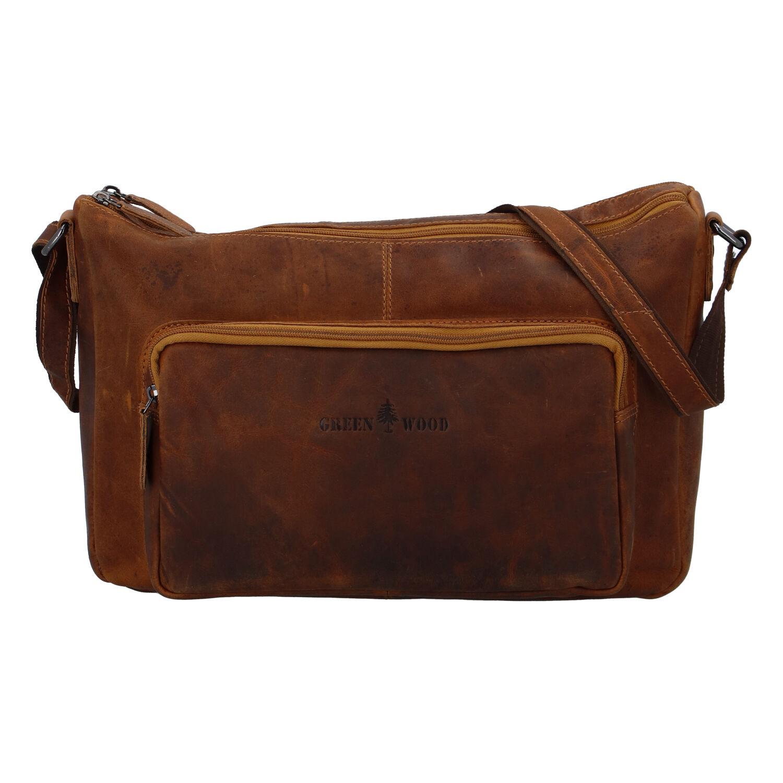 Kožená taška cez plece svetlohnedá - Greenwood Aboutme hnedá