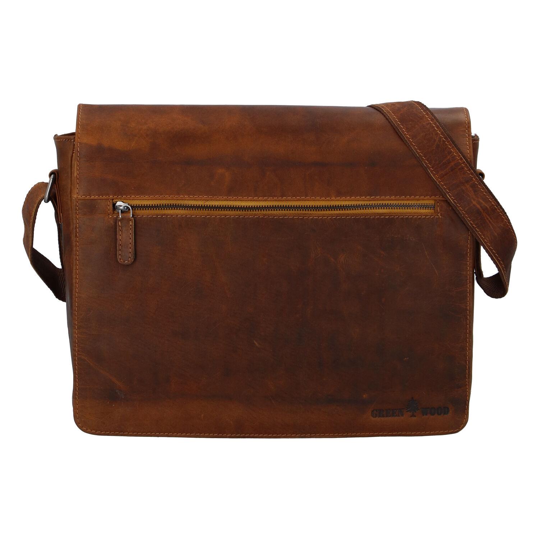 Pánska kožená taška svetlohnedá - Greenwood Manifico hnedá