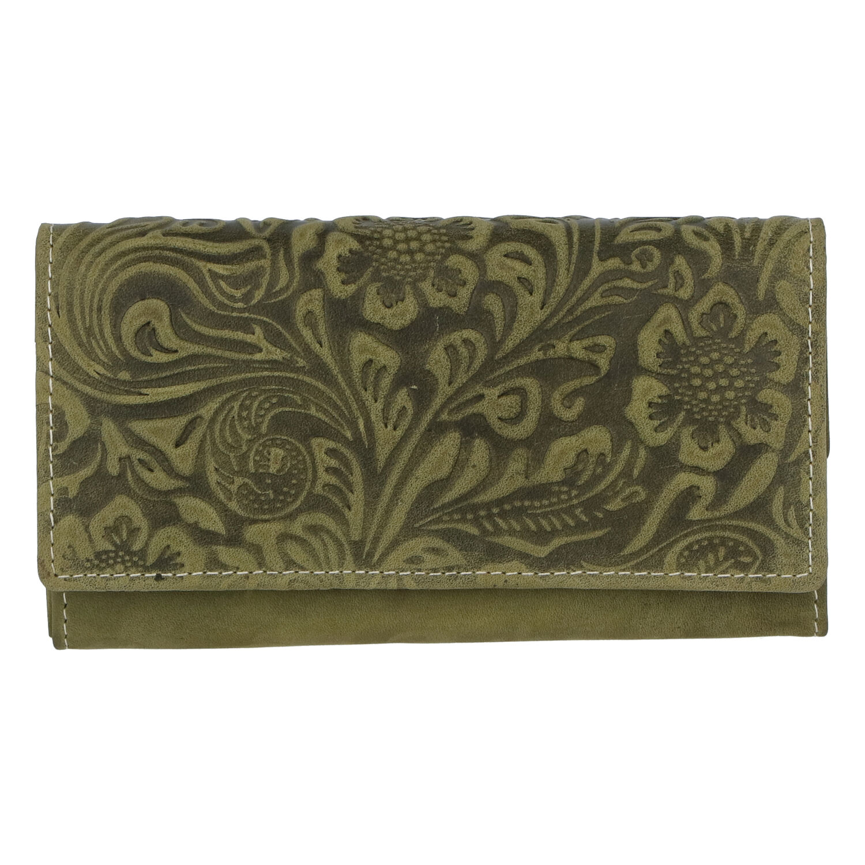 Dámska kožená peňaženka zelená so vzorom - Tomas Kalasia zelená
