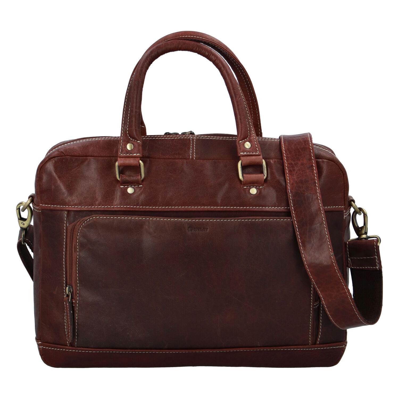 Pánska kožená taška hladká hnedá - Diviley Lenox hnedá