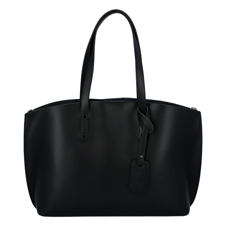 Dámska kožená kabelka čierna - ItalY Jordana Two čierna