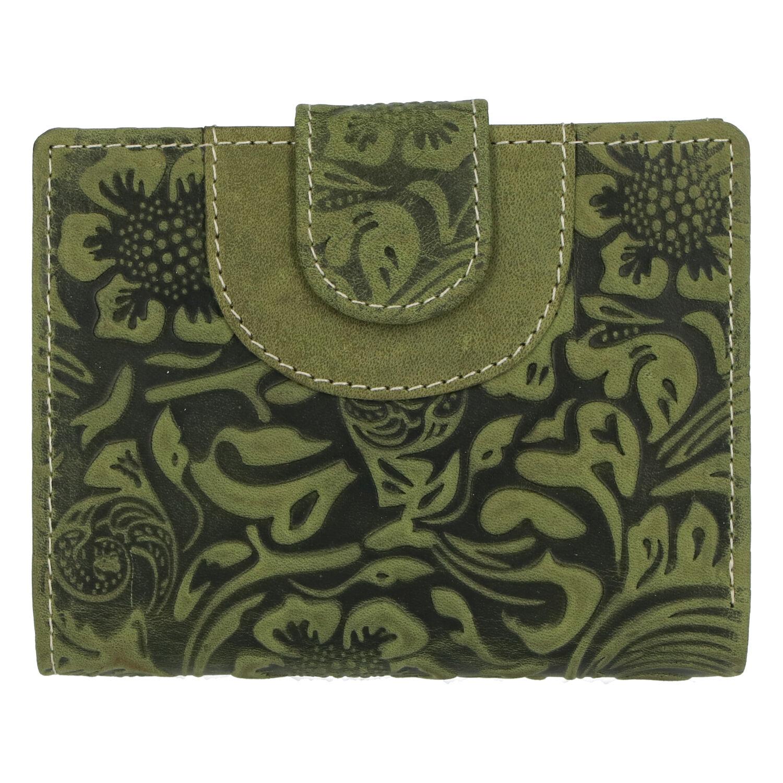 Elegantná kožená peňaženka so vzorom zelená - Tomas Pilia zelená
