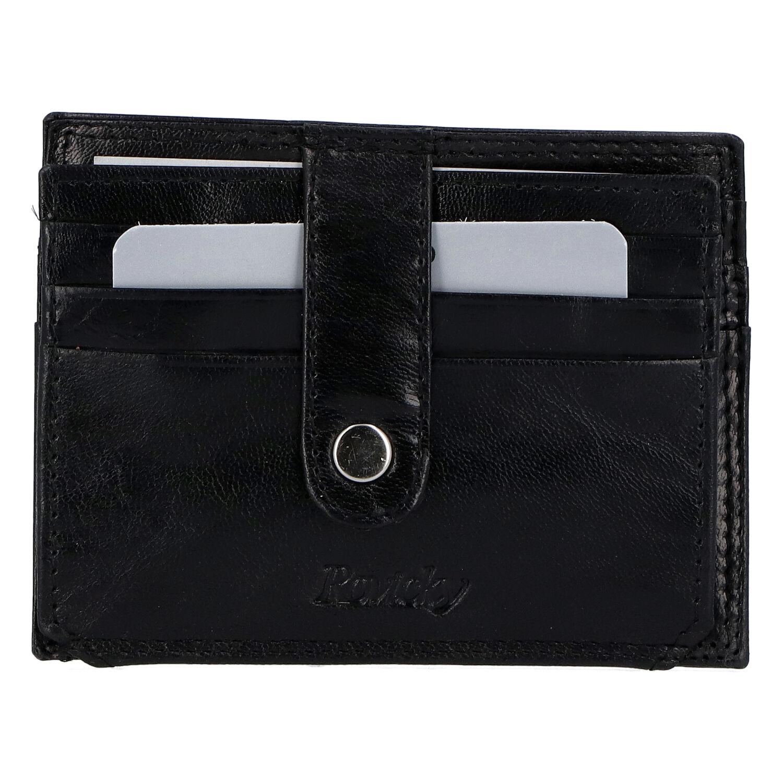 Kožená peňaženka na kreditné karty čierna - Rovicky N1367 čierna