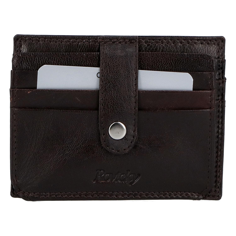 Kožená peňaženka na kreditné karty tmavohnedá - Rovicky N1367 hnedá