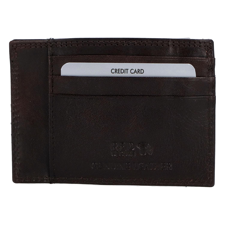 Kožené puzdro na kreditné karty tmavohnedé - Rovicky N1336 hnedá