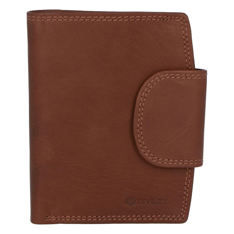 Elegantná svetlohnedá kožená peňaženka so zápinkou - Diviley Universit hnedá