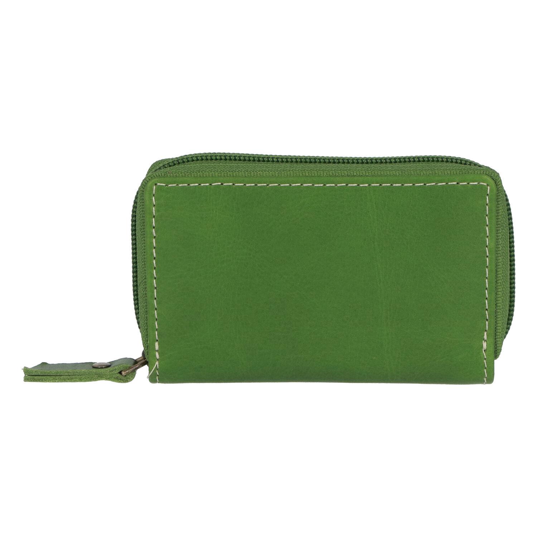 Hladké kožené puzdro na kreditné karty zelené - Tomas Veeze zelená