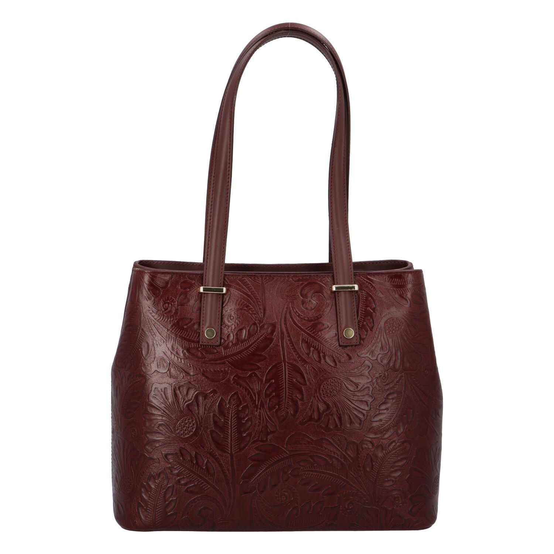 Exkluzívna dámska kožená kabelka bordová - ItalY Logistilla vínová