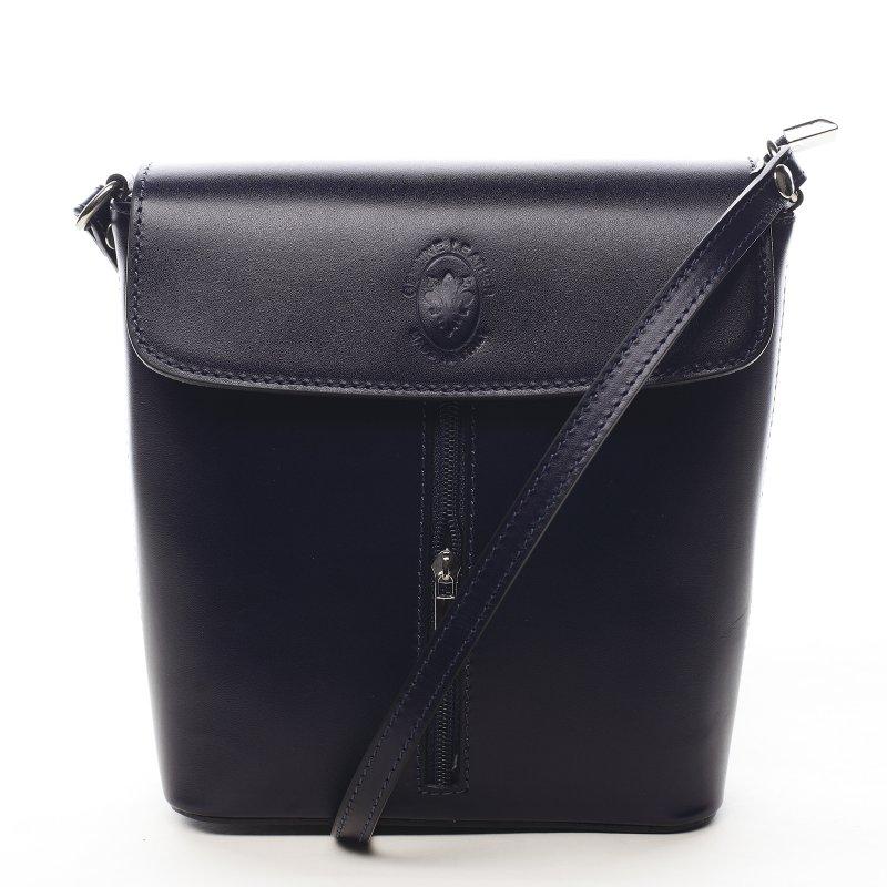 Dámska kožená crossbody kabelka tmavo modrá - ItalY Marketa tmavo modra