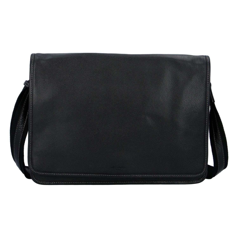 Pánska kožená taška cez plece čierna - Hexagona 463136 čierna
