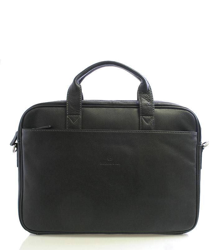 Čierna kožená taška Hexagona 62544 na notebook čierna
