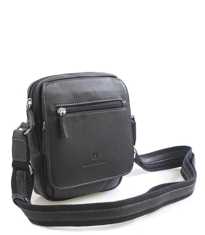 Luxusná čierna kožená taška cez rameno Hexagona xman čierna