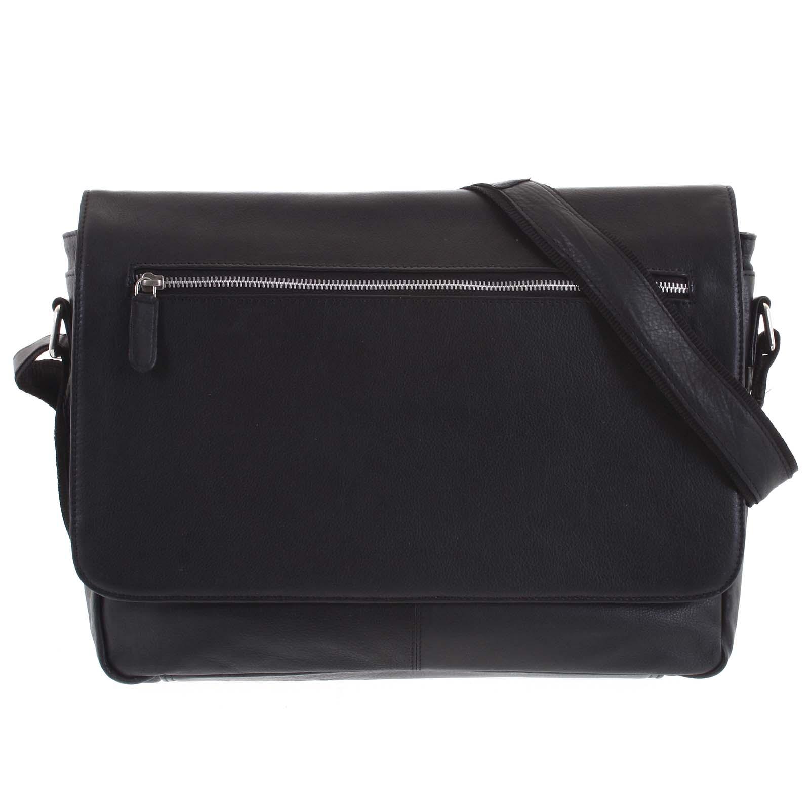 Pánska kožená taška čierna - Tomas Woodoo čierna