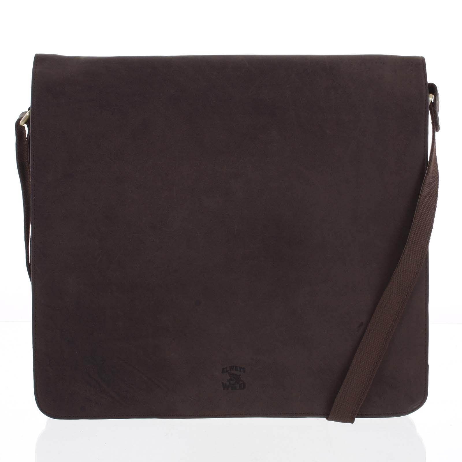 Pánska kožená taška tmavo Hnedá-WILD Version hnedá