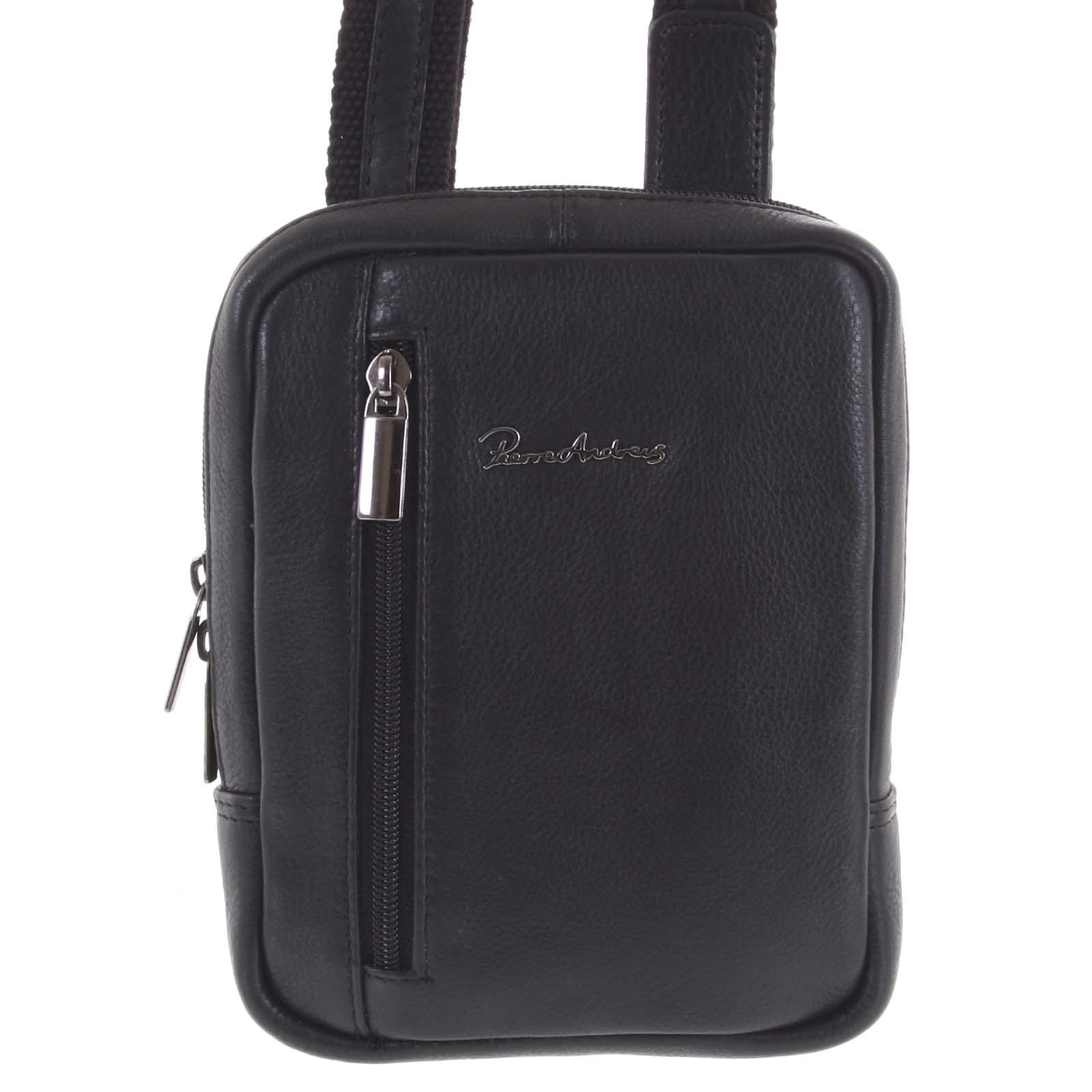 Praktická kožená kabelka čierna - Pierre Andreus Aron čierna