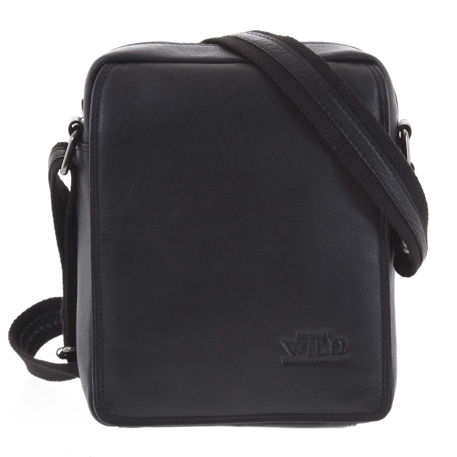 Čierna stredná pánska kožená taška - WILD Chapin čierna