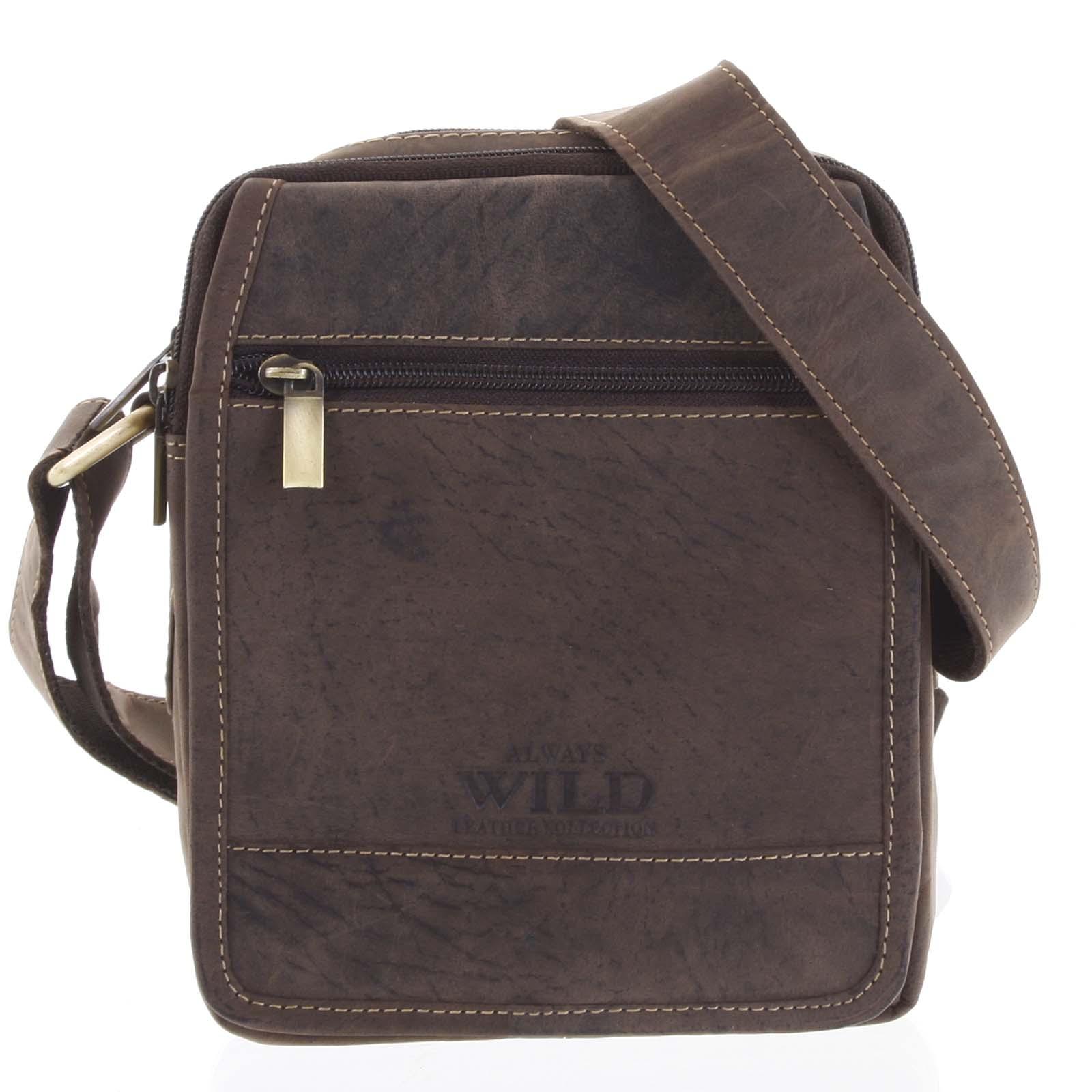 Pánska kožená taška na doklady tmavo hnedá - WILD Groove hnedá