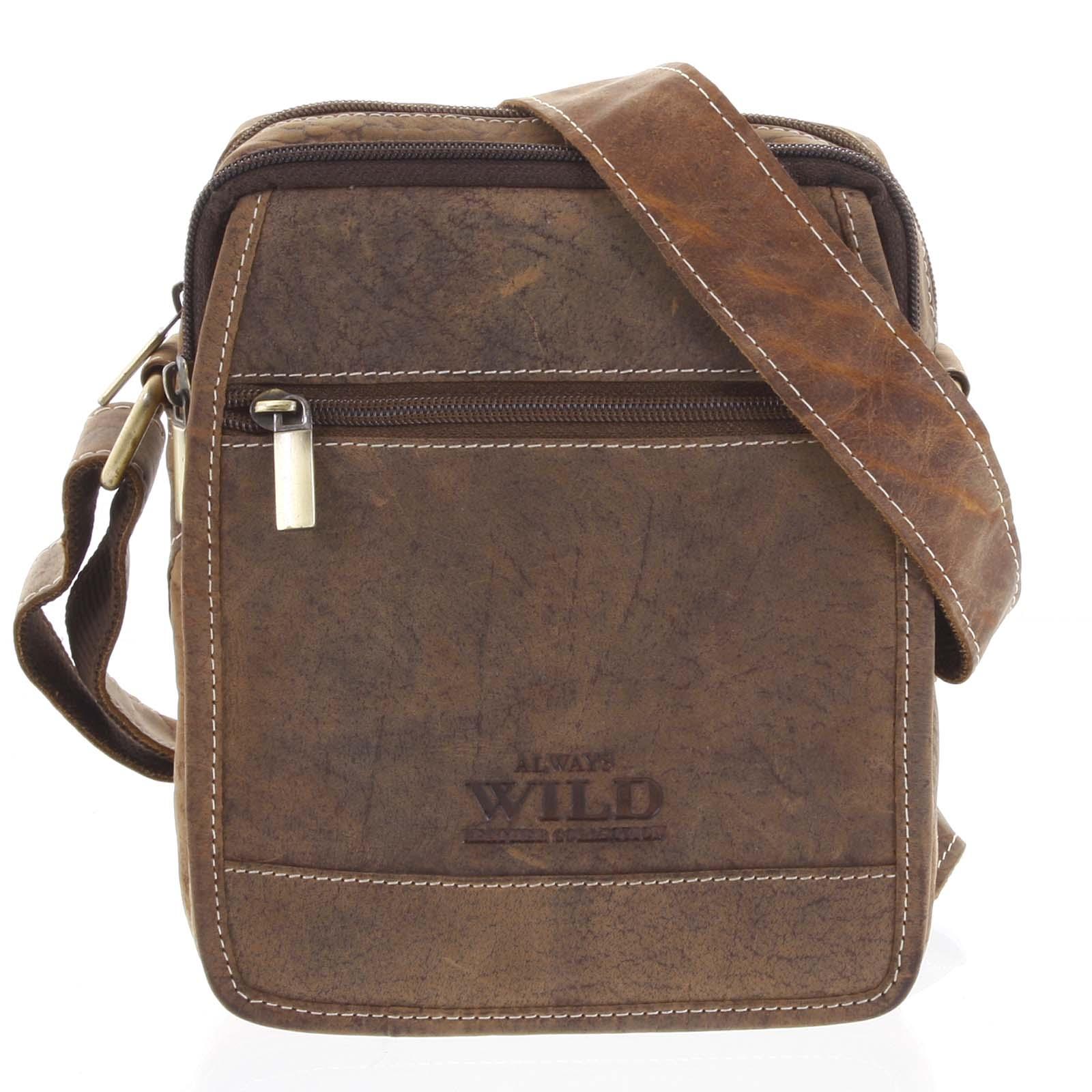 Pánska kožená taška na doklady svetlo hnedá - WILD Groove hnedá