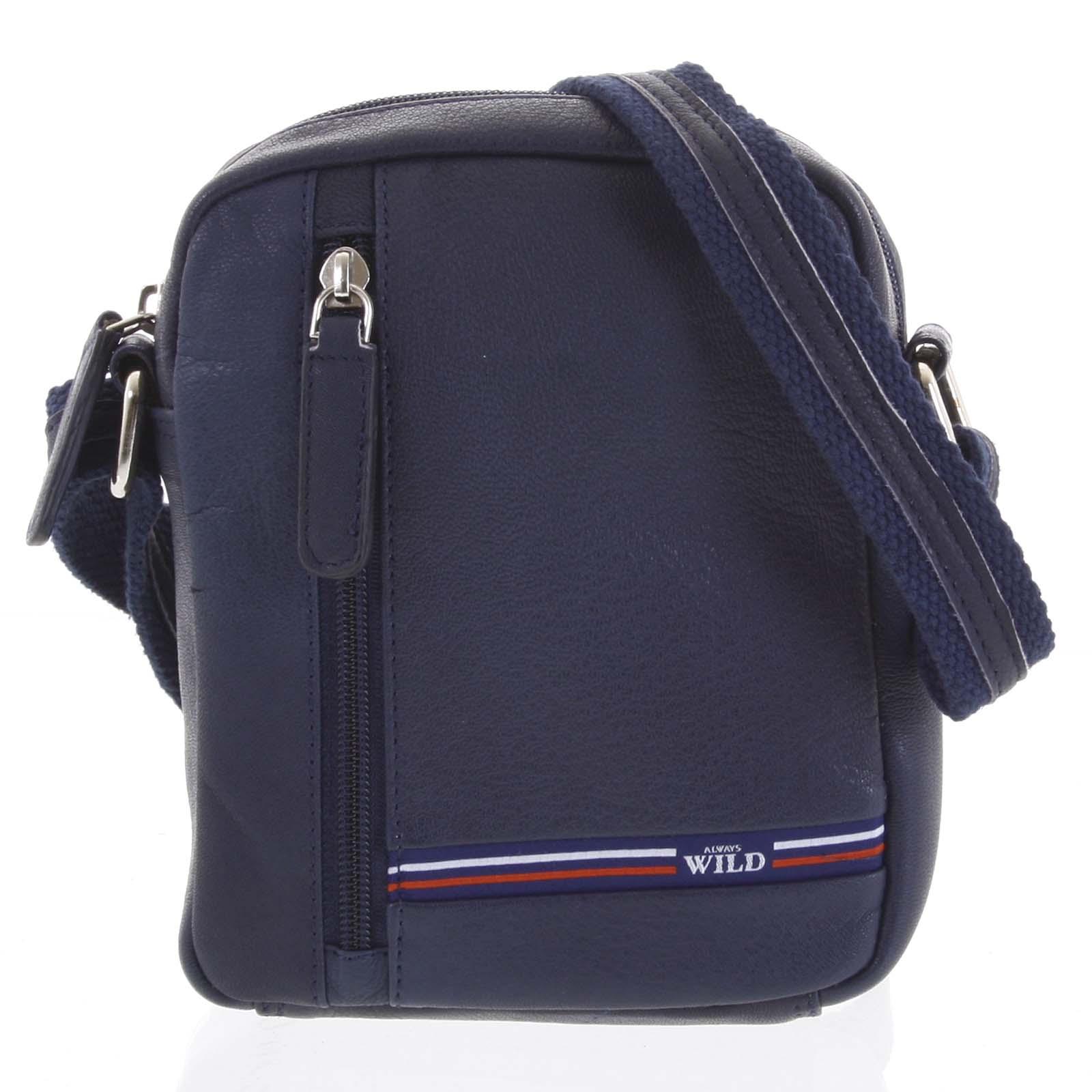Pánska kožená taška na doklady modrá - WILD Monty modrá