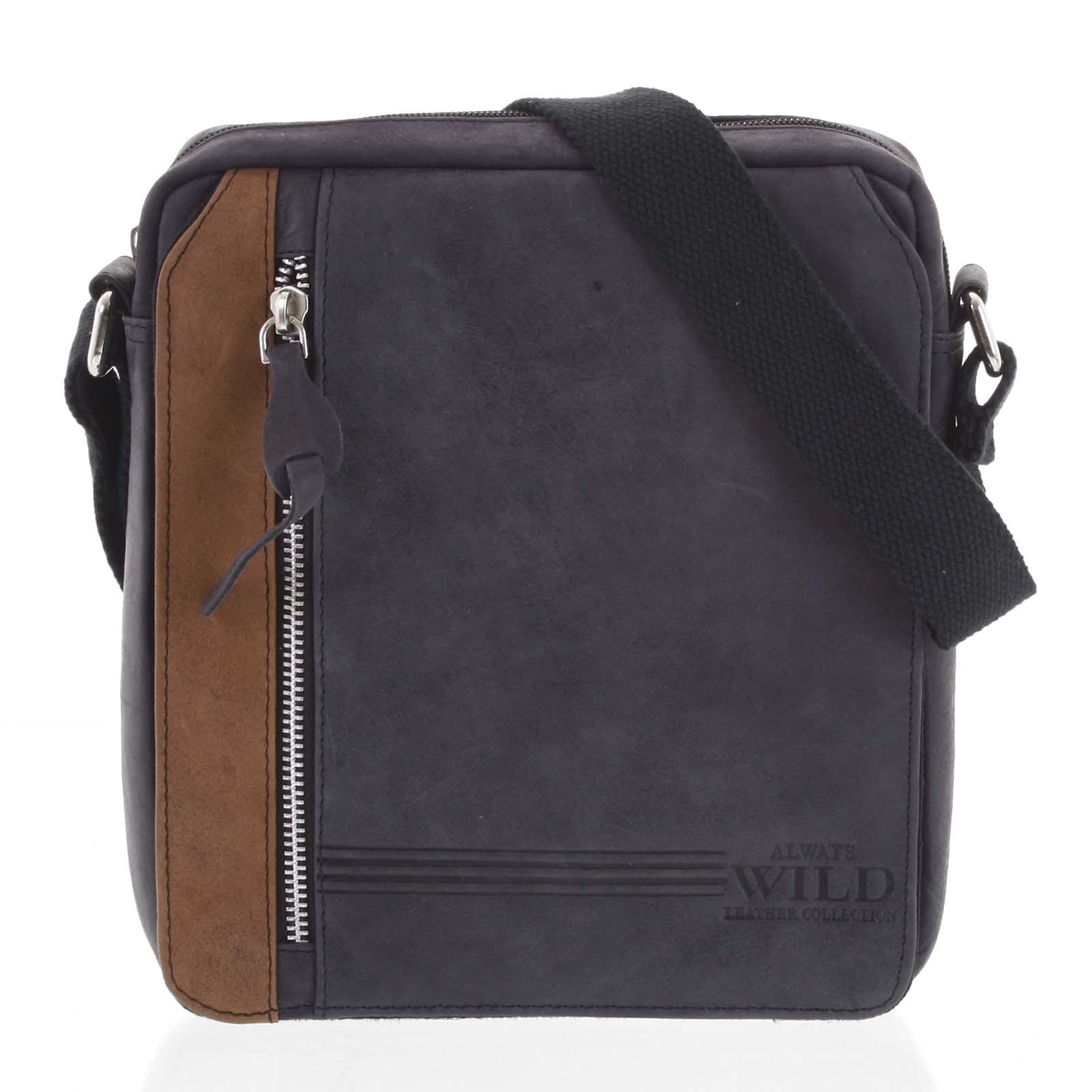 Pánska kožená crossbody taška čierna - WILD Kendra čierna
