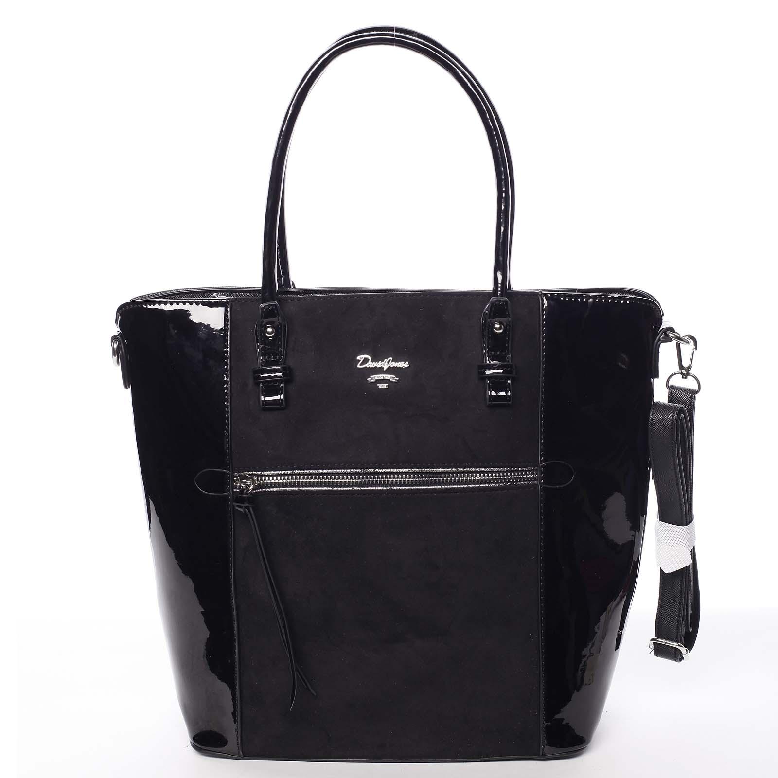 Veľká čierna luxusná pololakovaná kabelka cez rameno - David Jones Rayly čierna