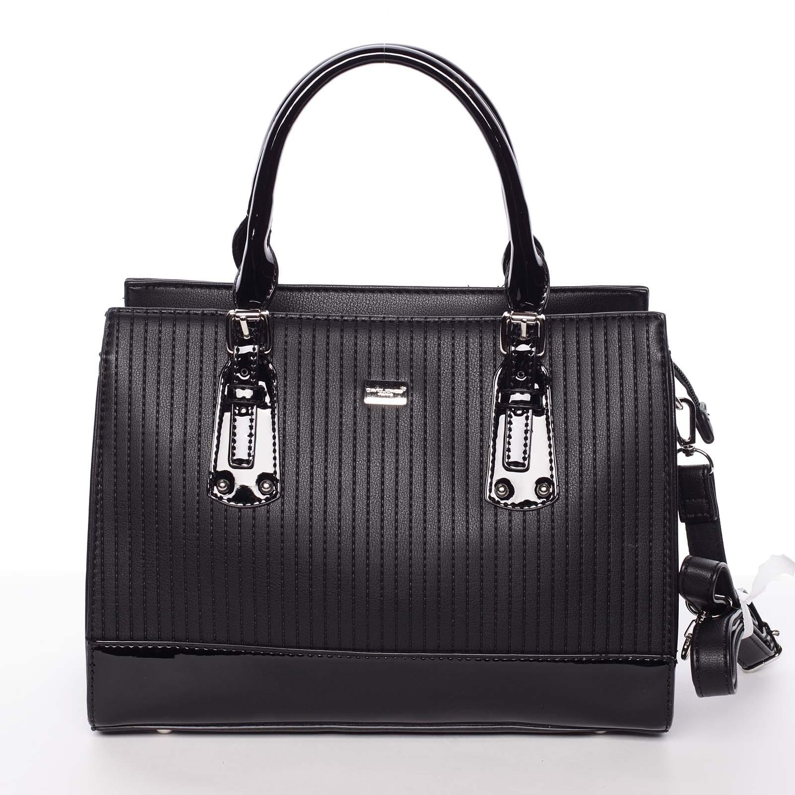 Luxusná čierna dámska prešívaná kabelka do ruky - David Jones Pannai čierna