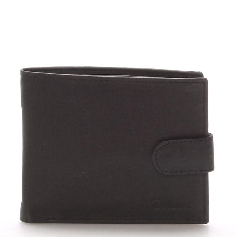 Pánska kožená čierna peňaženka - Delami 9371 čierna