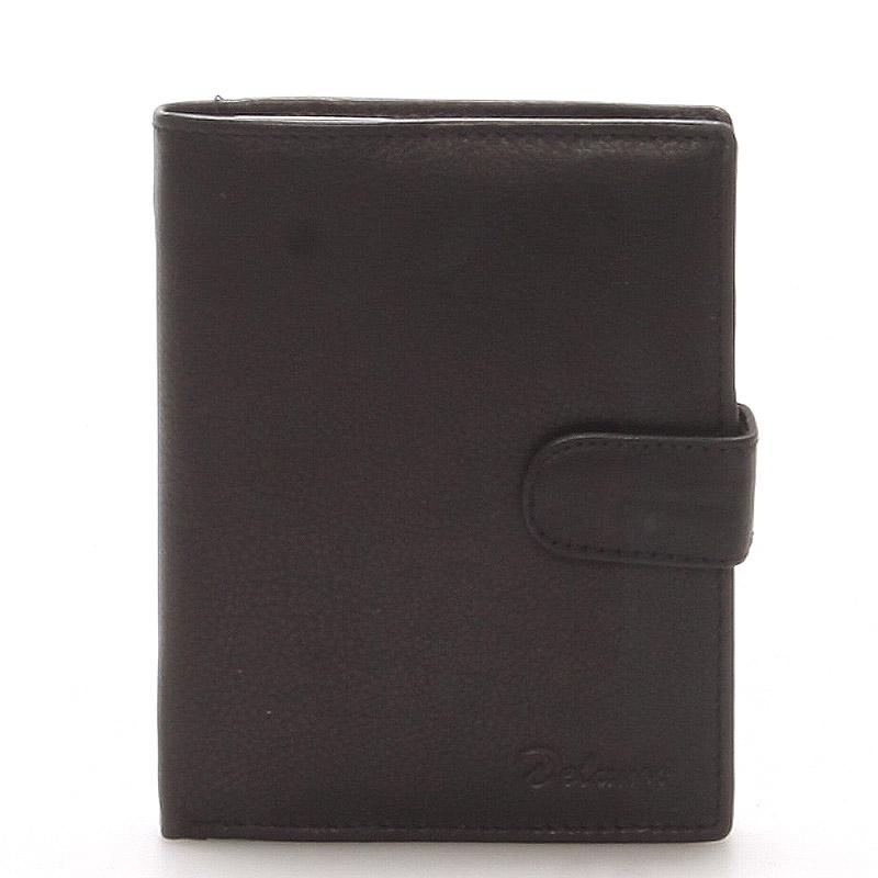 Pánska kožená čierna peňaženka - Delami 8703 čierna