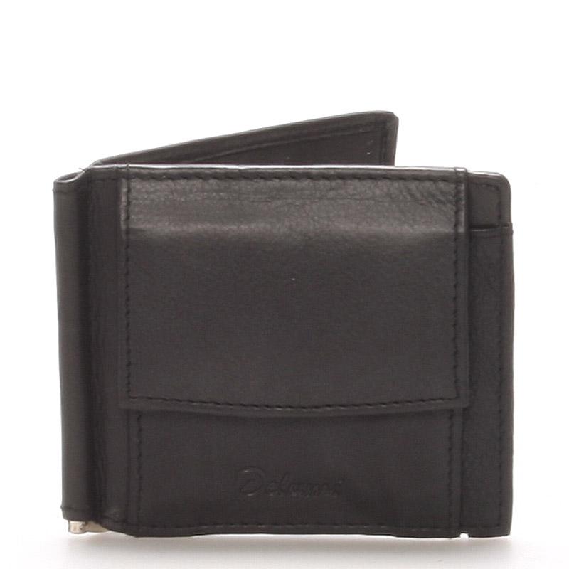 Malá kožená čierna peňaženka - Delami 8697 čierna