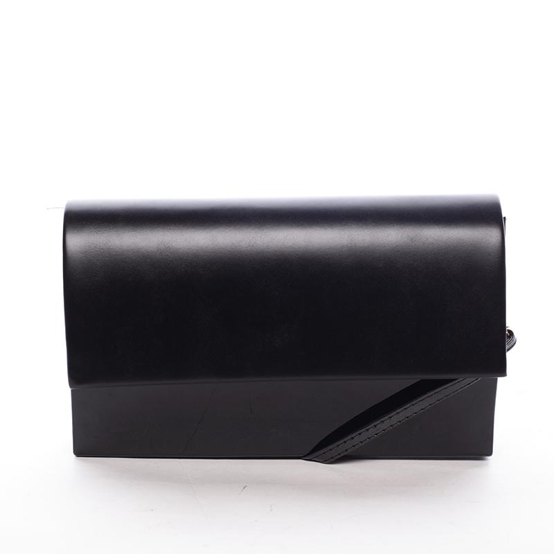 Štýlová dámska listová kabelka čierna lesklá - Delami Boston čierna