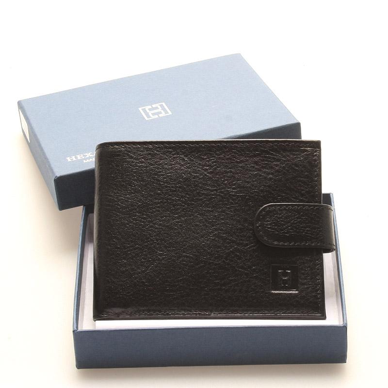 Luxusná pánska čierna kožená peňaženka - Hexagona Hestia čierna