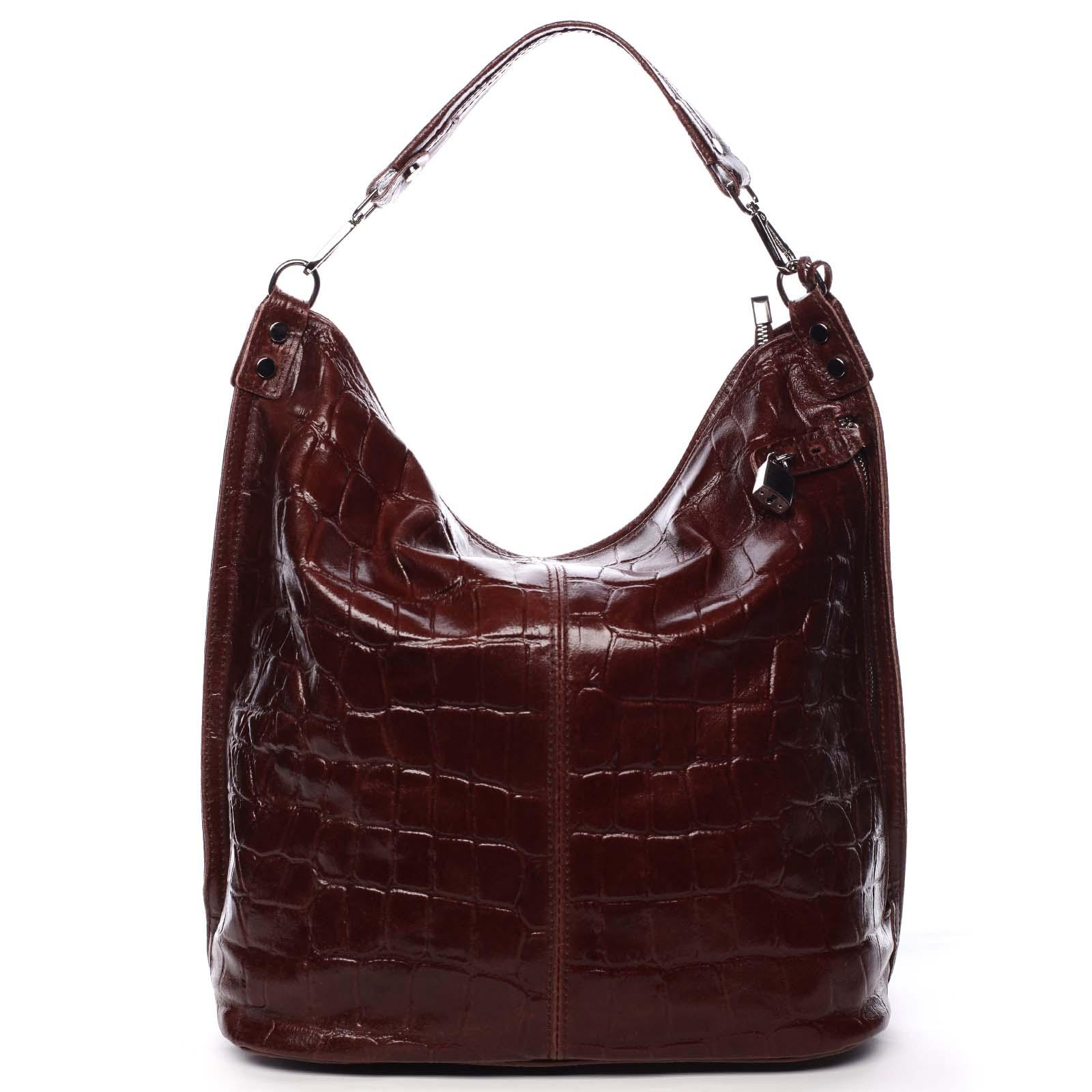 Veľká kožená dámska kabelka vínová - ItalY Celinda vínová