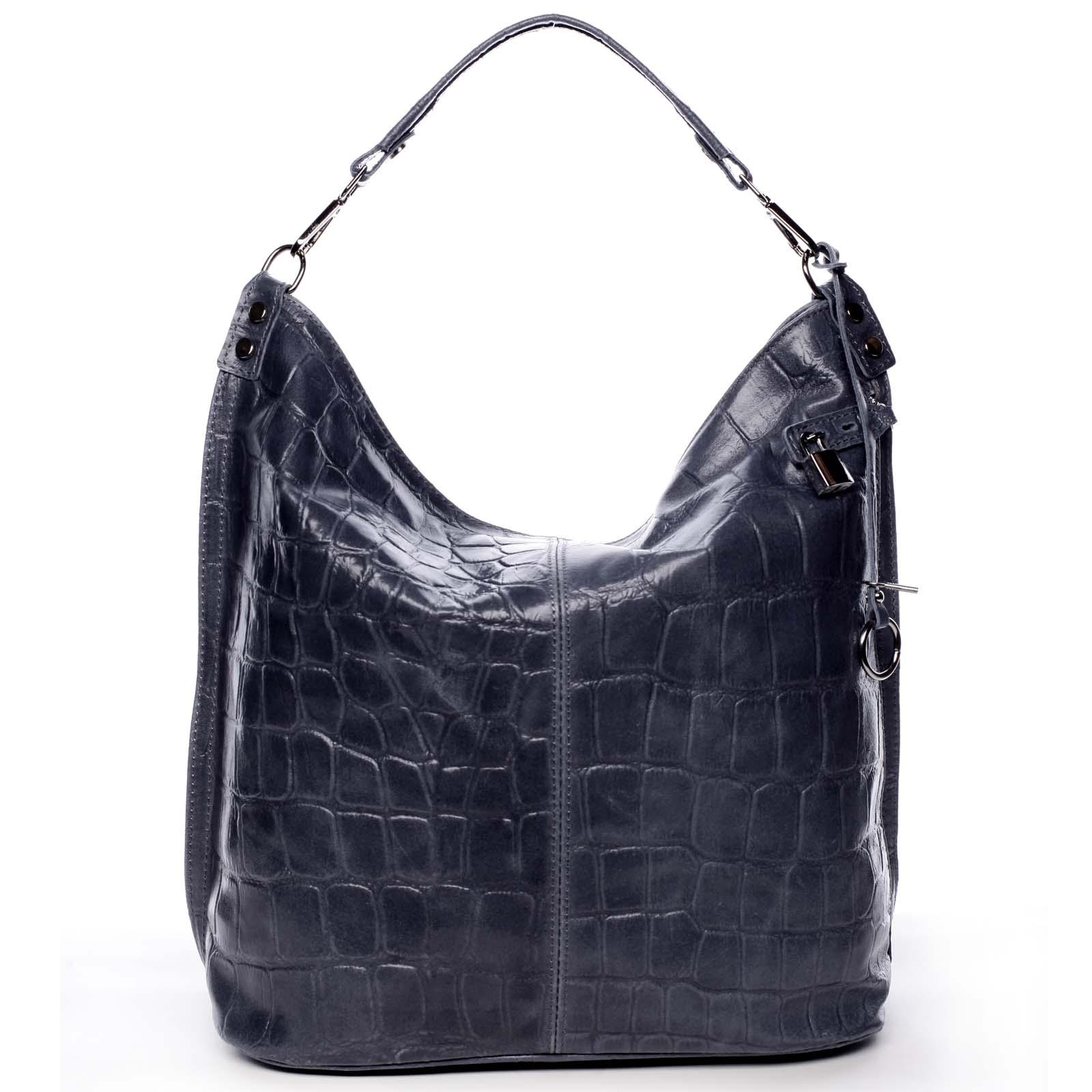 Veľká kožená dámska kabelka modrá - ItalY Celinda modrá