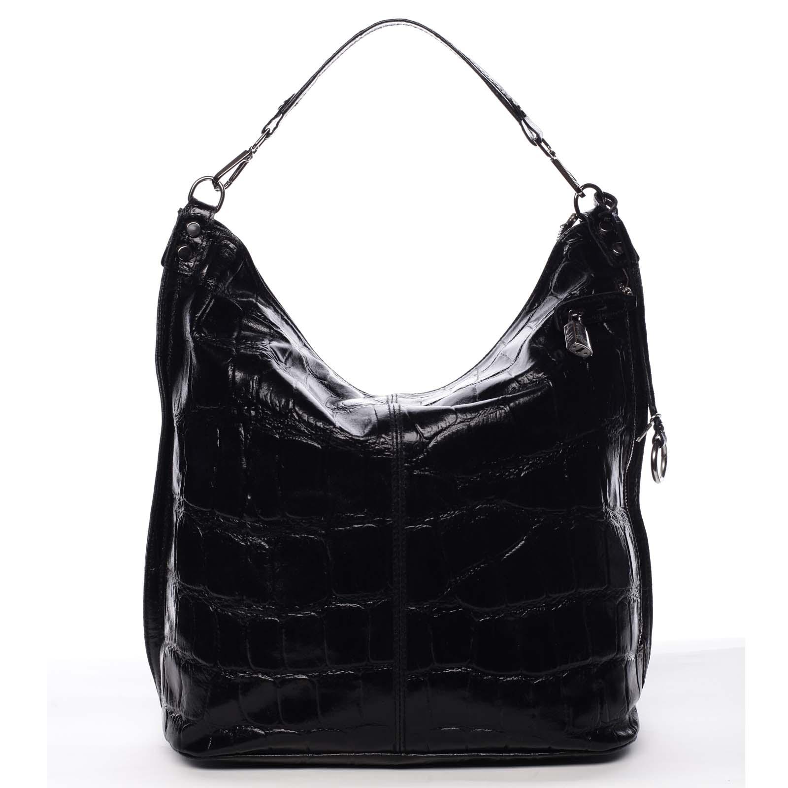 Veľká kožená dámska kabelka čierna - ItalY Celinda čierna