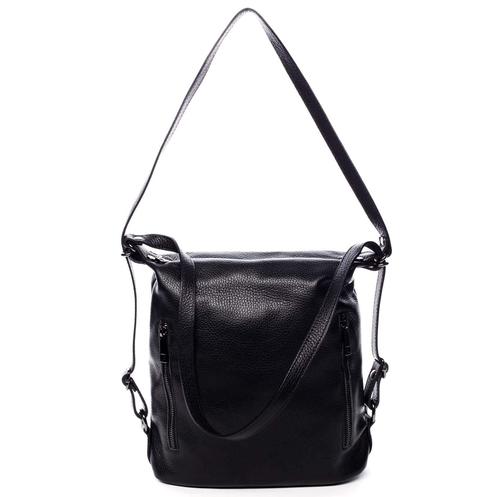 Dámska kožená kabelka batoh čierna - ItalY Nadine čierna