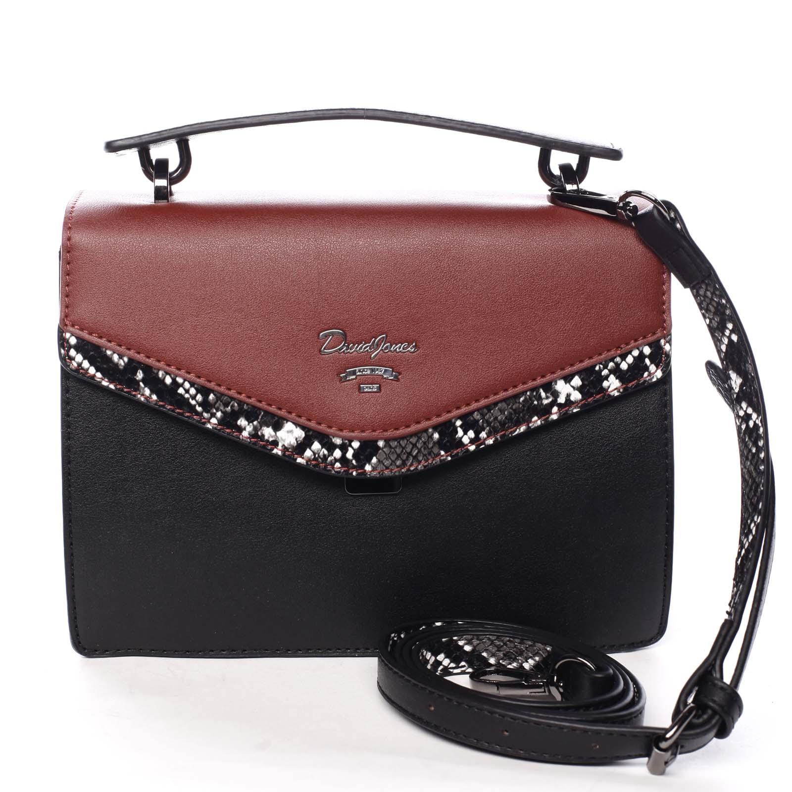 Dámska kabelka do ruky čierno červená - David Jones Scarlett červená