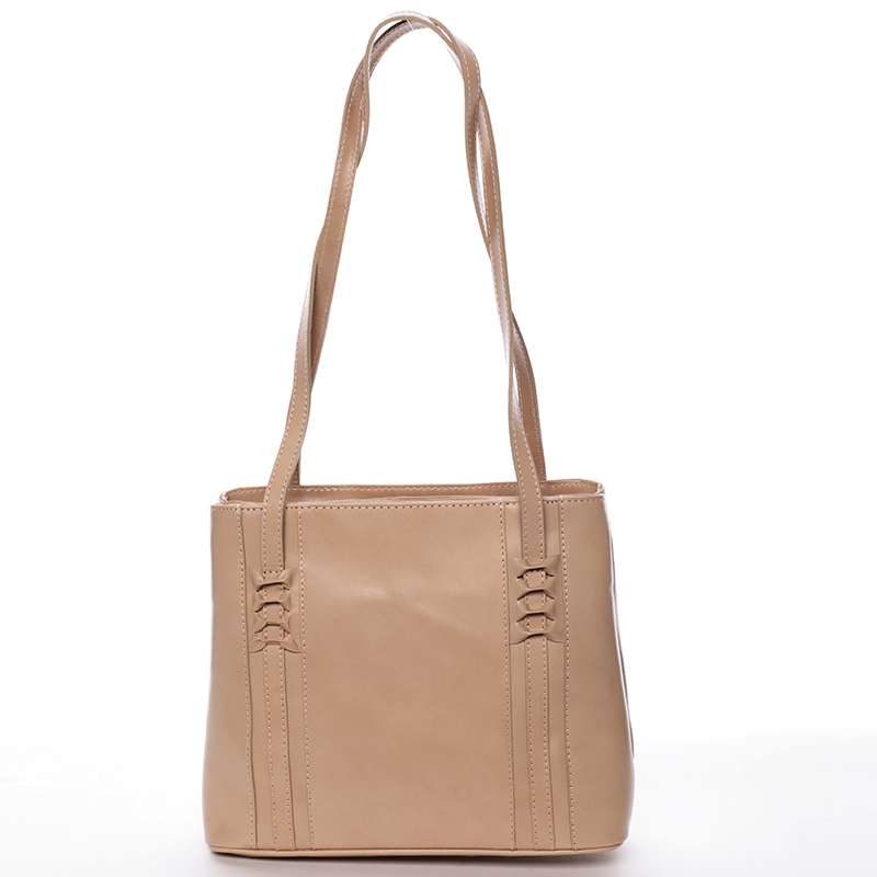 Taupe kožená kabelka cez rameno - ItalY Zosimovi Taupe