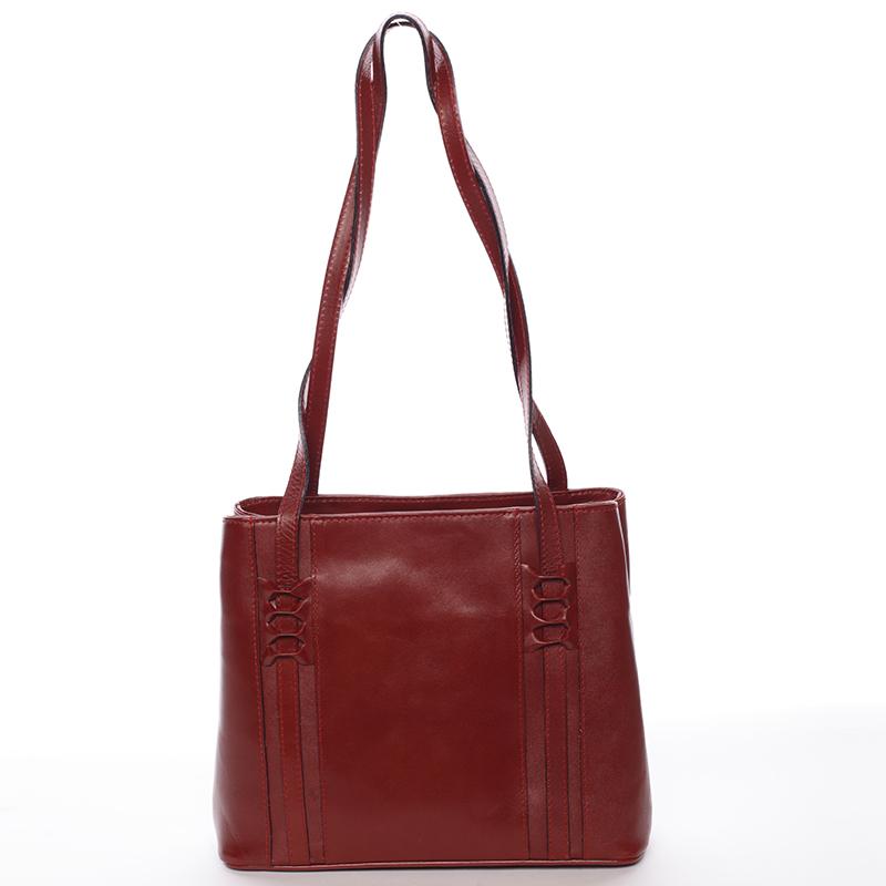 Červená kožená kabelka cez rameno - ItalY Zosimovi červená