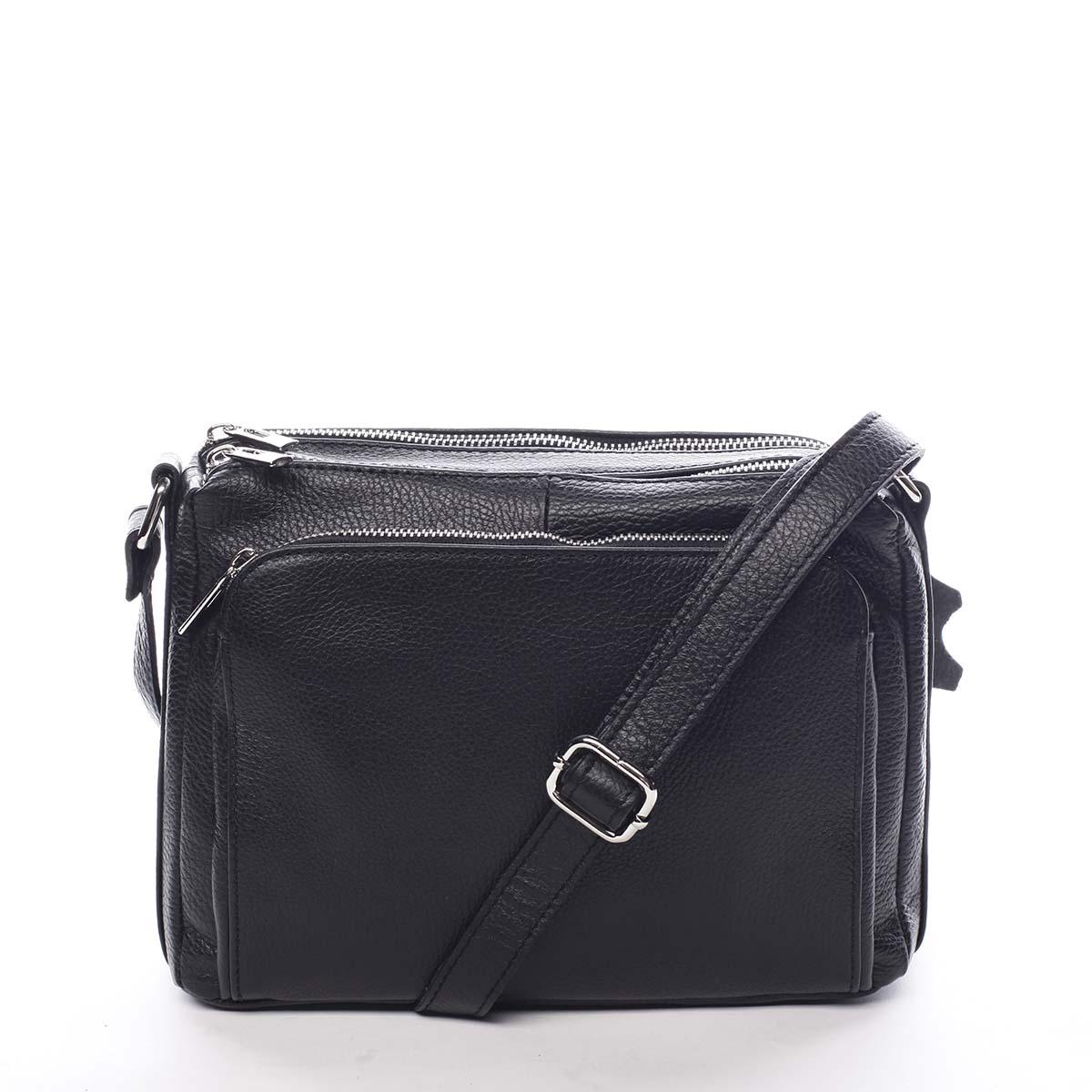 Dámska kožená crossbody kabelka čierna - ItalY Bandit čierna