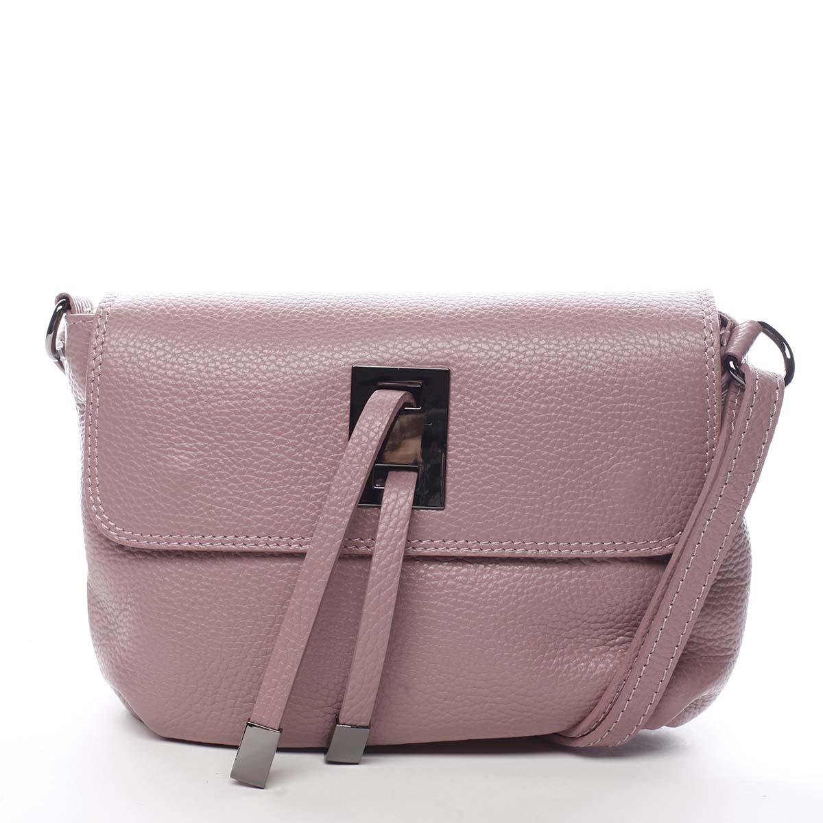 Dámska kožená crossbody kabelka ružová - ItalY Porta ružová