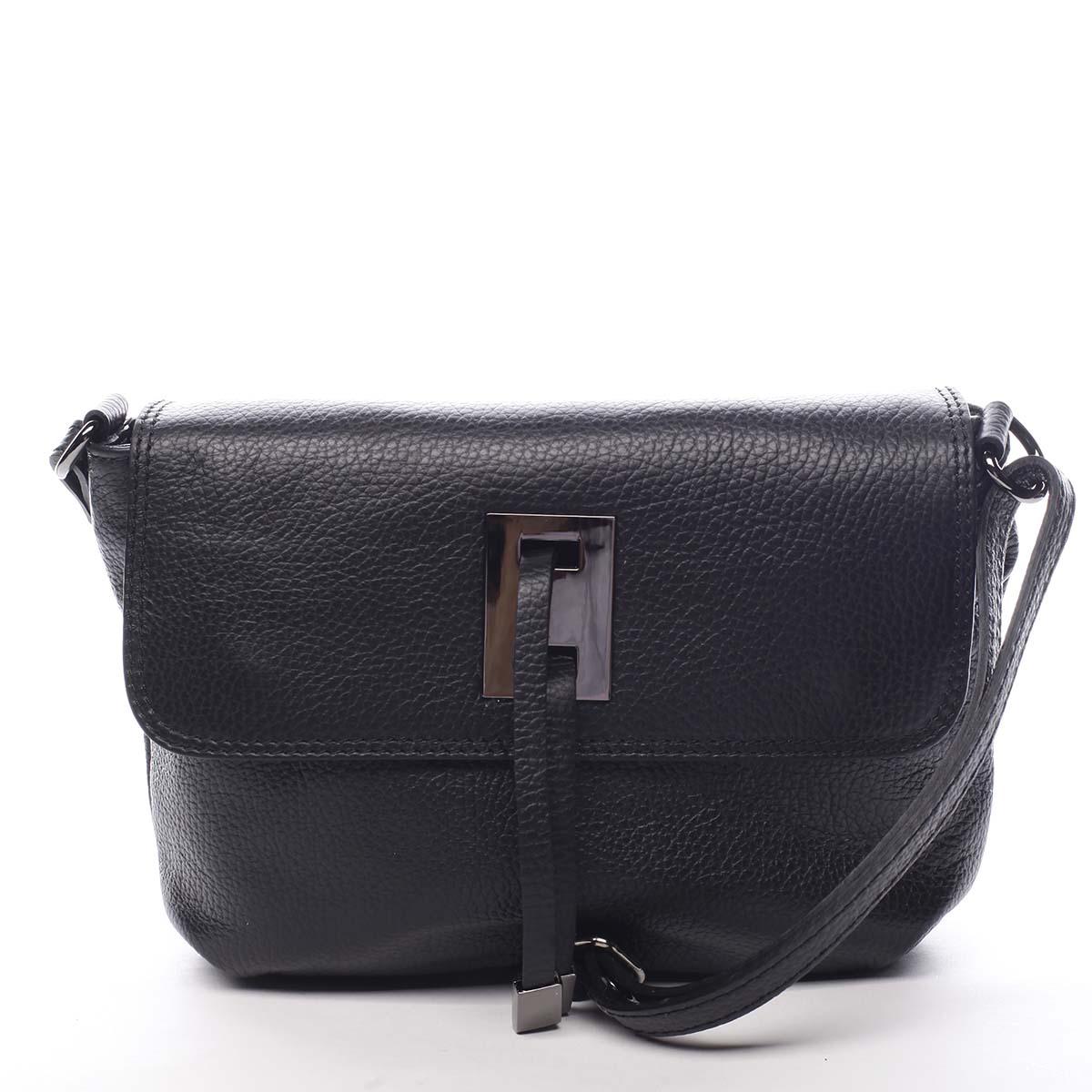 Dámska kožená crossbody kabelka čierna - ItalY Porta čierna