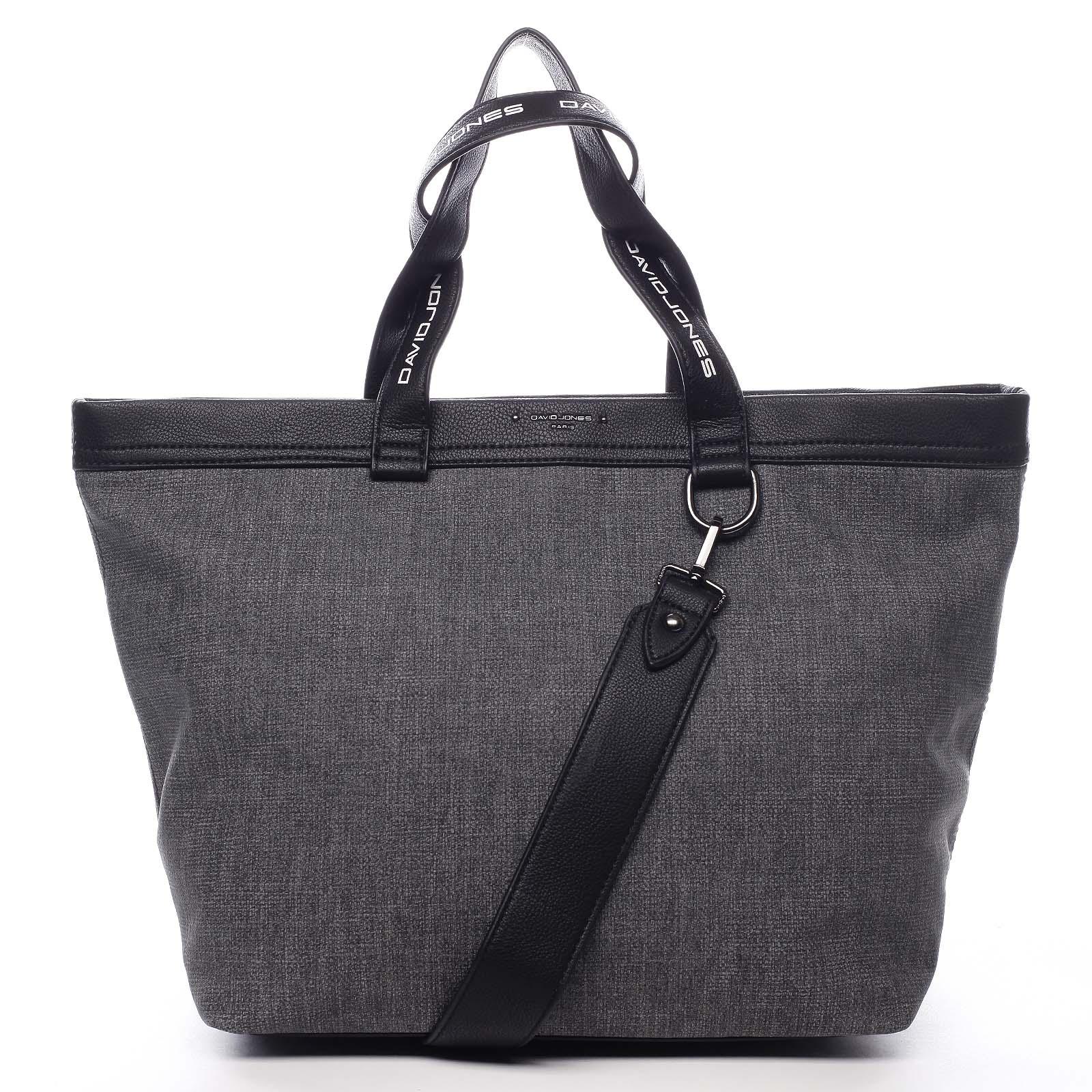 Veľká dámska kabelka antracitová - David Jones Graciete čierna