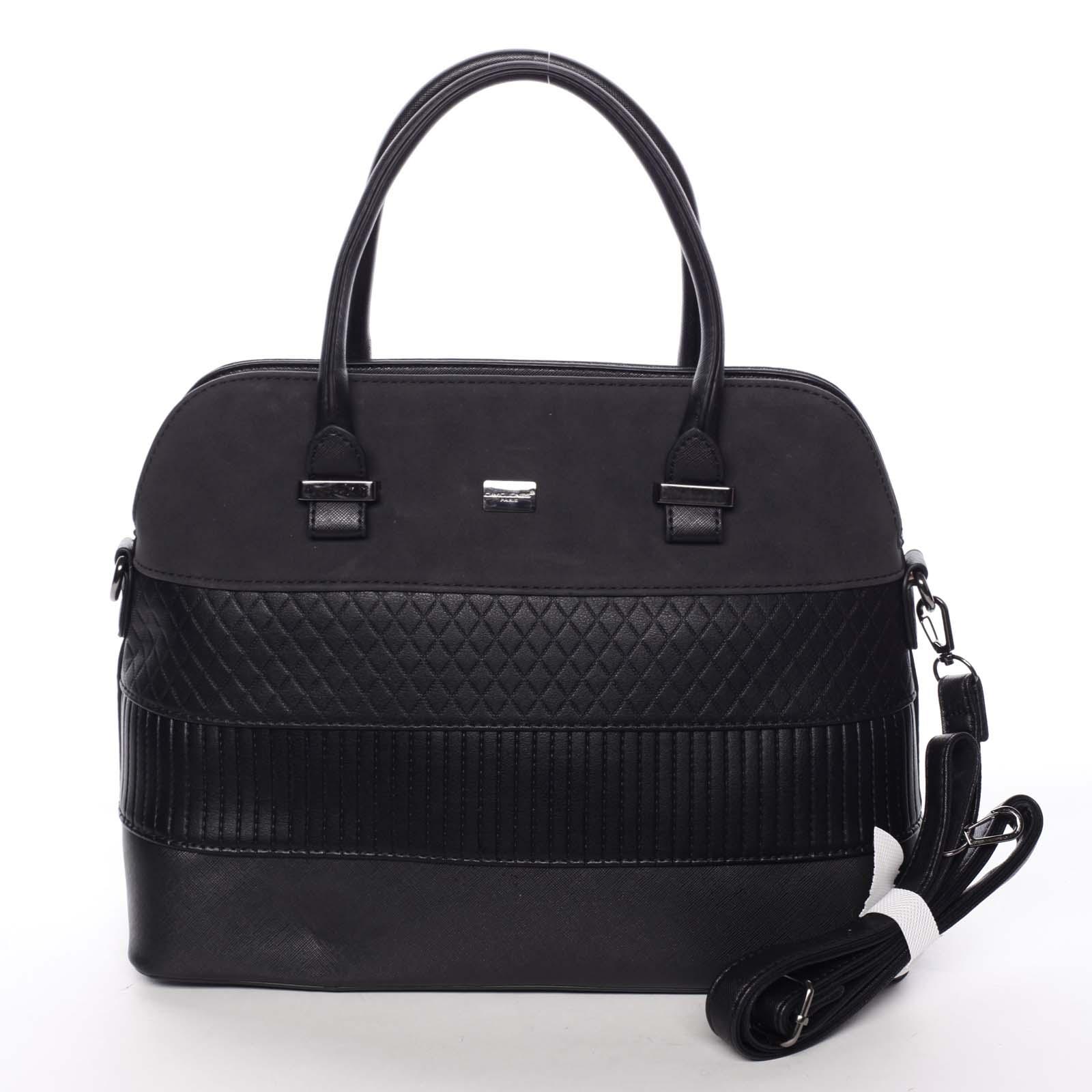 Exkluzívna dámska čierna pevná kabelka do ruky - David Jones Agape čierna