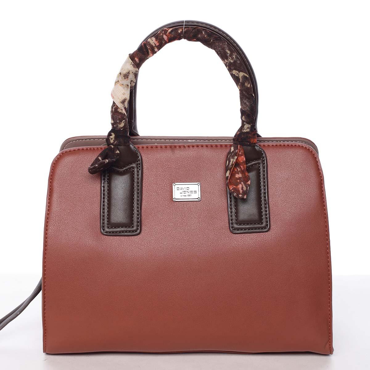 Štýlová trendy dámska kabelka do ruky karamelovo červená - David Jones Crescent červená