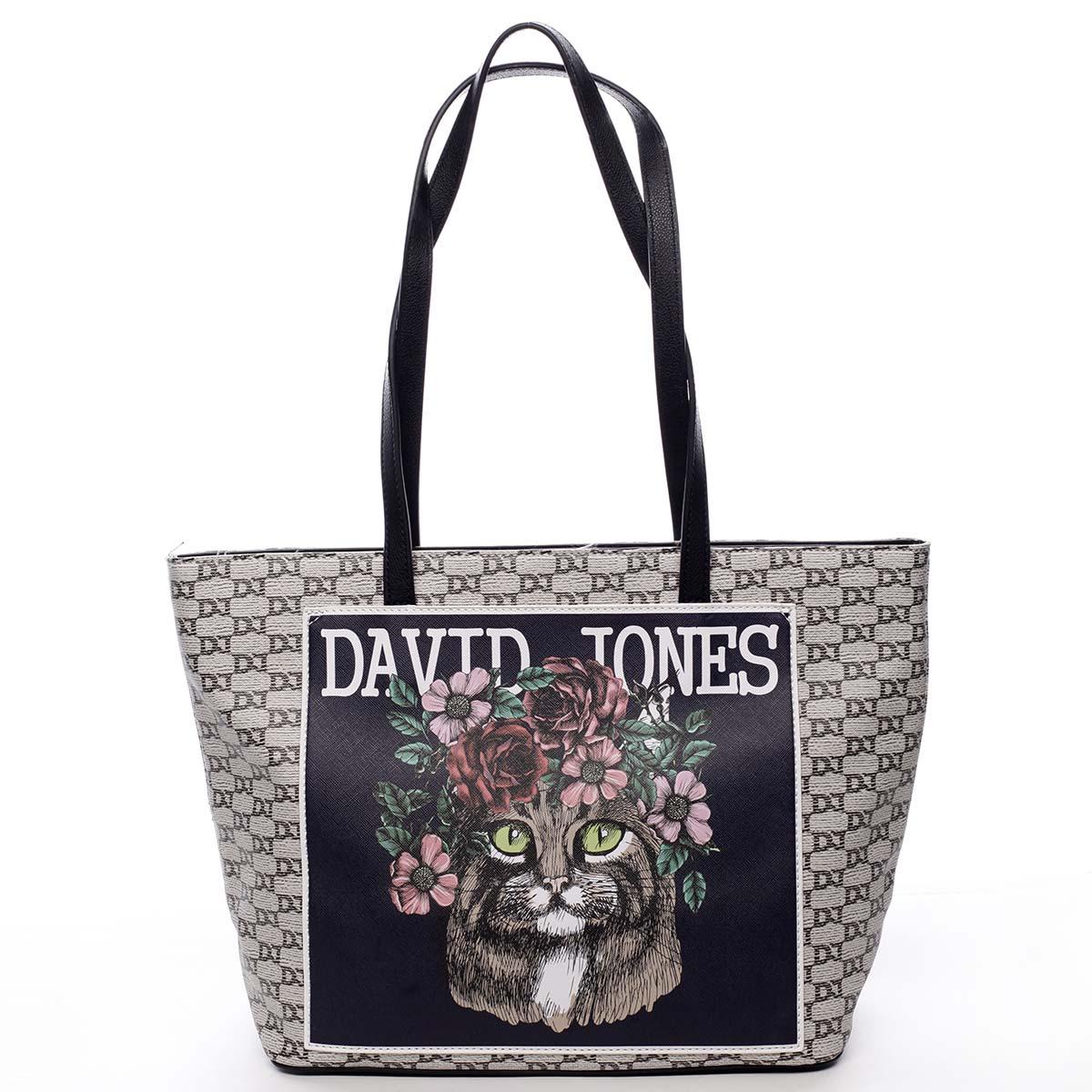 Čierna trendy priestranná dámska kabelka cez rameno - David Jones Sadaf čierna