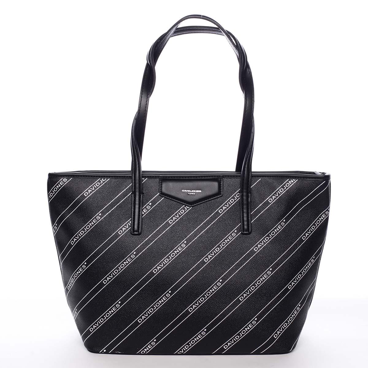 Veľká čierna moderná kabelka cez rameno - David Jones Abisag čierna